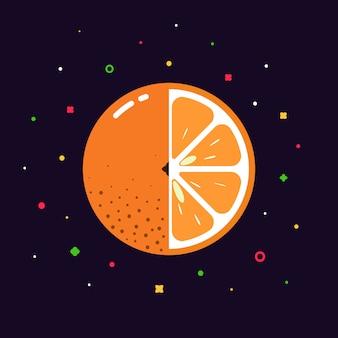 Sphère de fruits orange avec logo demi-tranche, concept de modèle de design plat