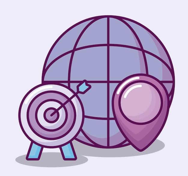 Sphère avec des icônes de l'entreprise