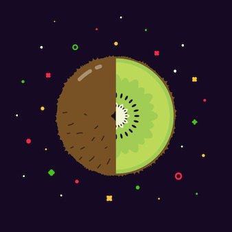 Sphère de kiwi avec logo demi-tranche, concept de modèle de conception plate