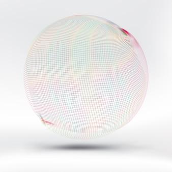 Sphère de maille colorée abstraite sur soie satinée