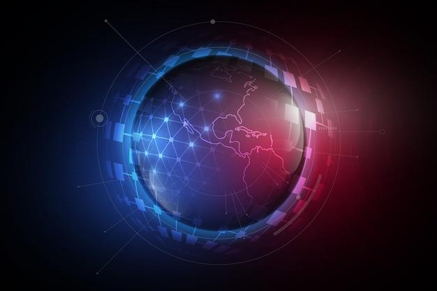Sphère de mondialisation futuriste en hologramme