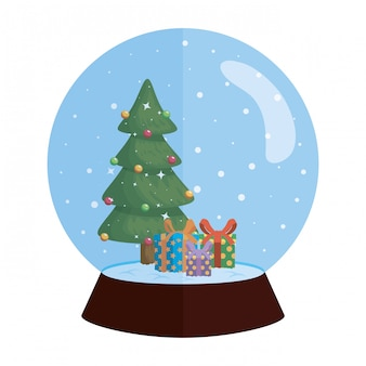 Sphère de neige noël avec pin et cadeaux