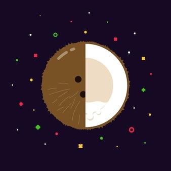 Sphère de noix de coco avec logo demi-tranche, concept de modèle de design plat
