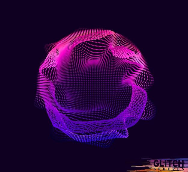 Sphère point violet corrompue. maille colorée abstraite sur dark