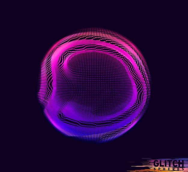 Sphère point violet corrompue. maille colorée abstraite sur le noir