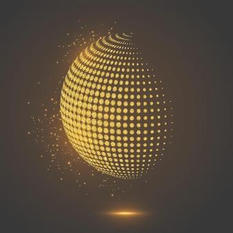 Sphère en pointillé de globe abstrait de paillettes.