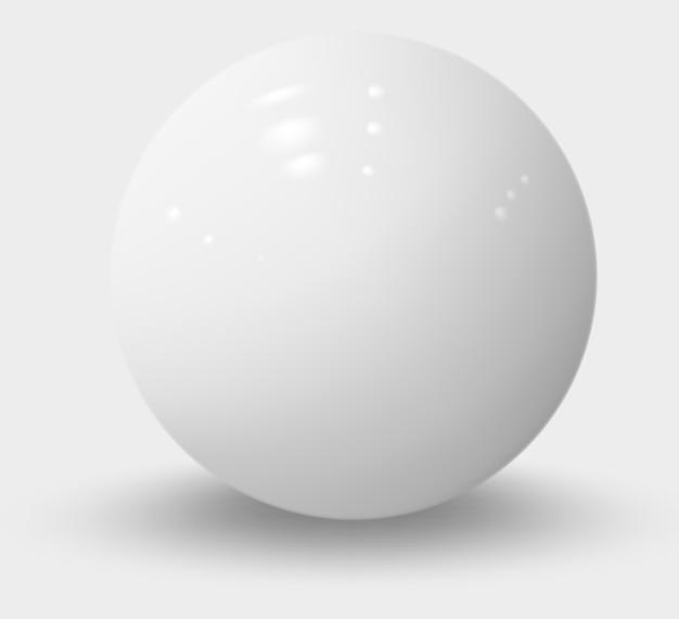 Sphère réaliste blanc isolé sur blanc