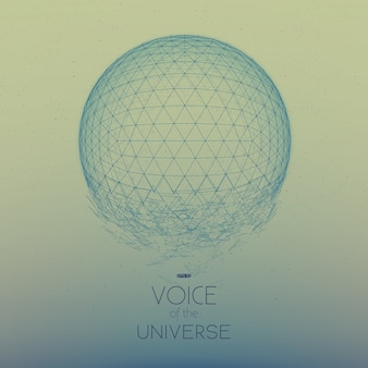Sphère spatiale bleue qui s'écrase. fond abstrait vectoriel avec de petites étoiles. lueur du soleil du bas. géométrie abstraite de l'espace. étincelles d'étoiles extraterrestres en toile de fond. désintégration de la cyber-sphère.