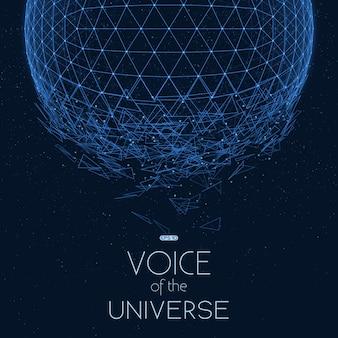 Sphère spatiale bleue qui s'écrase. fond abstrait vectoriel avec de petites étoiles.
