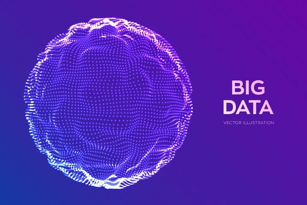 Sphère vague de grille. fond abstrait science bigdata.