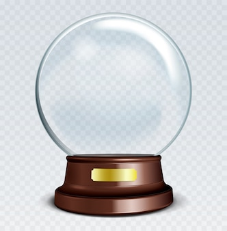 Sphère de verre blanche transparente sur un support