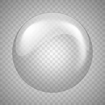 Sphère de verre sur fond transparent. bulle. illustration.