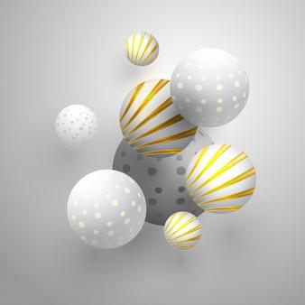 Sphères abstraites sur fond gris