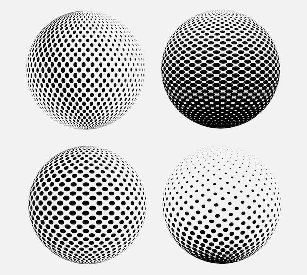 Sphères de demi-teintes vecteur 3d