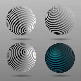 Sphères de demi-teintes vectorielles 3d. ensemble de milieux de vecteur de demi-teintes. éléments de conception de demi-teintes