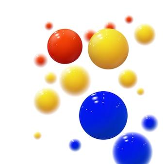 Sphères molles. bulles en plastique. boules brillantes. formes géométriques 3d, abstrait. couverture moderne ou conception de concept de rapport annuel. bannière dynamique ou fond d'écran avec des boules. modèle vectoriel.