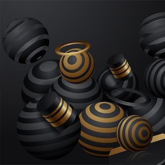 Sphères noires 3d en arrière-plan de l'espace
