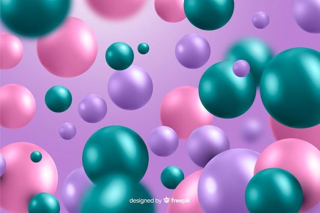 Sphères en plastique brillant fond réaliste