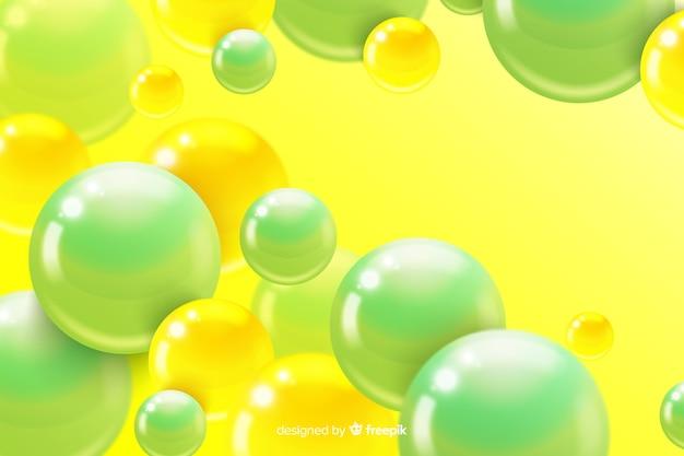 Sphères en plastique brillant réaliste de fond