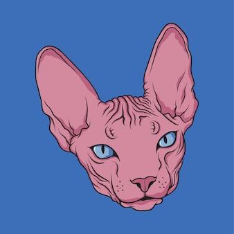 Sphynx tête de chat dessinée à la main
