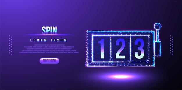 Spin, nombre, conception de maillage filaire low poly bingo