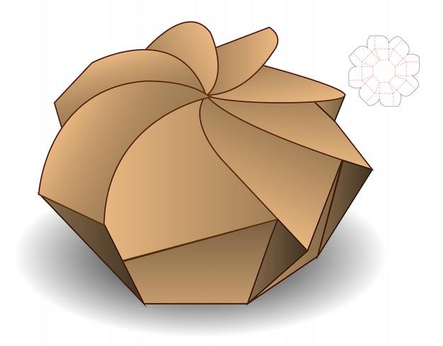 Spiral box packaging die cut design template