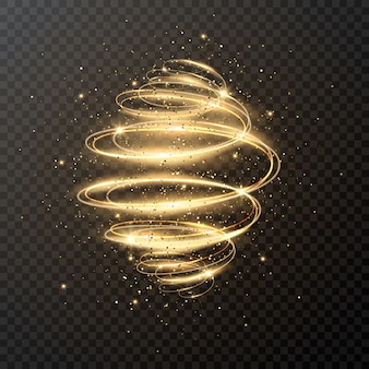 Spirale de luxe avec paillettes et étoiles. noël . effet de traînée de tourbillon d'étincelle magique sur transparent. mouvement de vitesse rougeoyant.