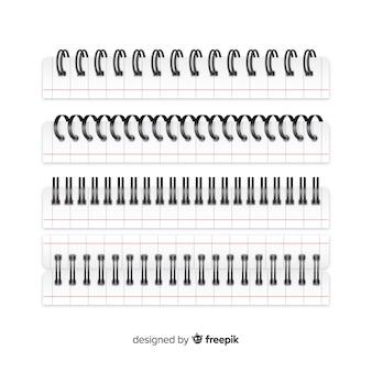 Spirale réaliste pour la collection de cahiers