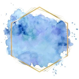 Splash aquarelle abstrait bleu pastel avec cadre doré géométrique