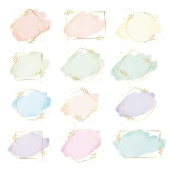 Splash aquarelle colorée avec peinture numérique collection de cadre de feuille d'or géométrie