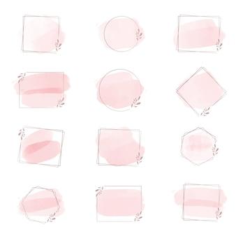 Splash de coup de pinceau aquarelle rose avec cadre géométrique