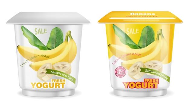 Splash de paquet de yaourt à la banane