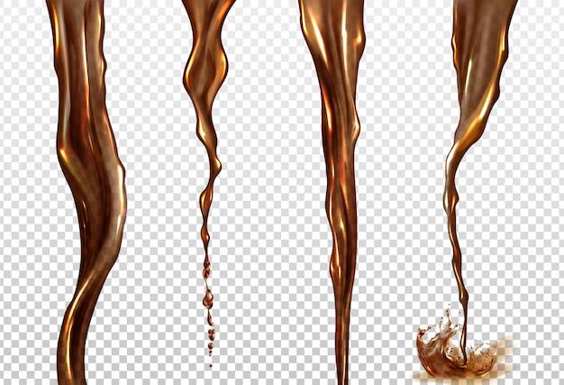 Splash réaliste de vecteur et flux de cola ou de café
