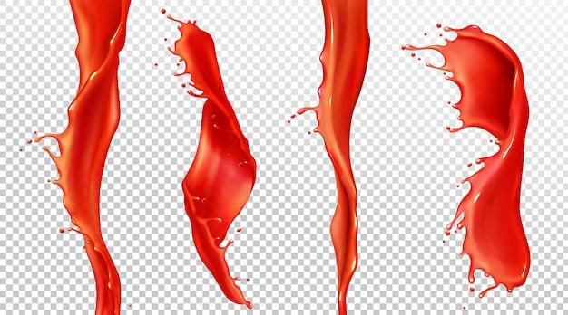 Splash réaliste de vecteur et flux de jus de tomate