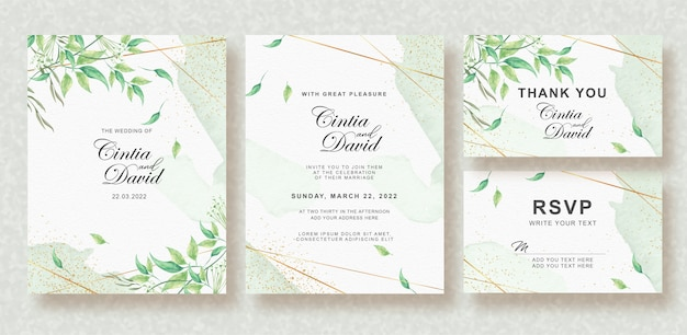 Splash de verdure et feuilles ensemble d'invitation de mariage