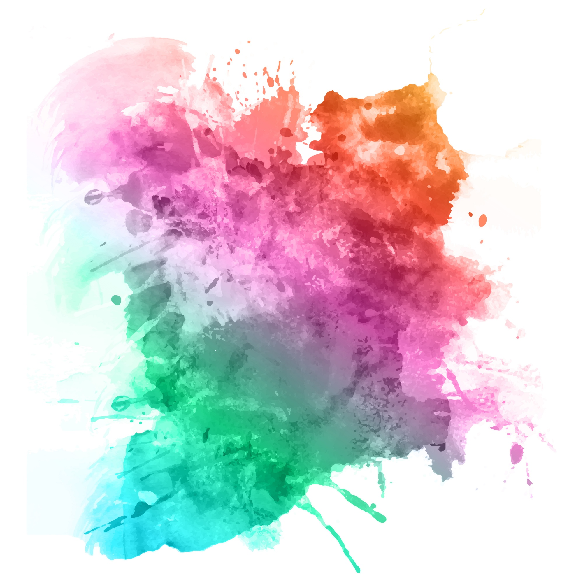Splatters d'aquarelle en couleurs arc-en-ciel