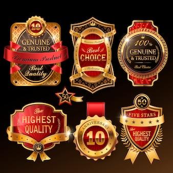 Splendide collection d'étiquettes premium dorées pour usage au détail