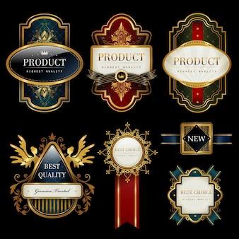 Splendide collection d'étiquettes sertie de noir et d'or