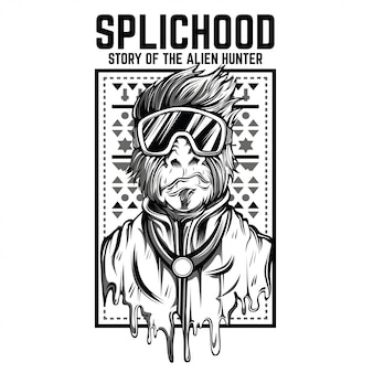 Splichood monkey illustration en noir et blanc