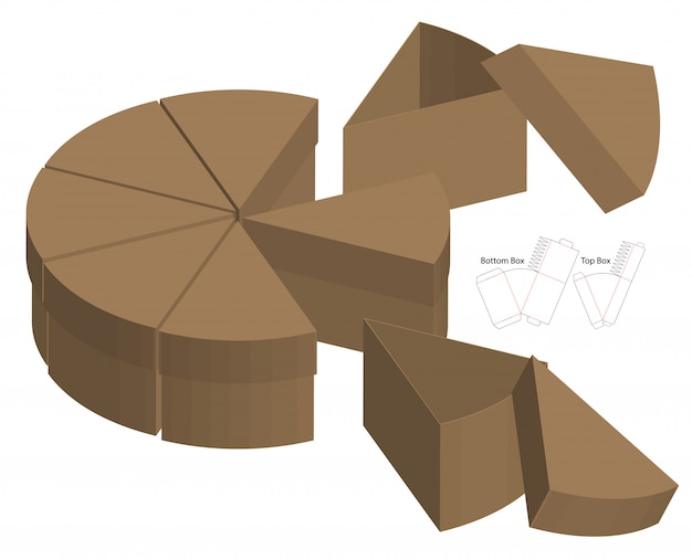 Split cake style box emballage conception prédécoupée. maquette 3d