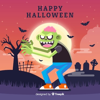 Spooky halloween background avec un design plat