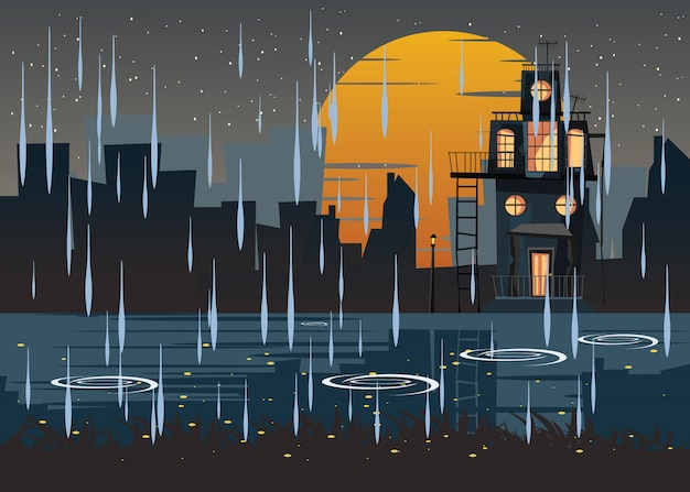 Spooky logé dans illustration vectorielle jour de pluie