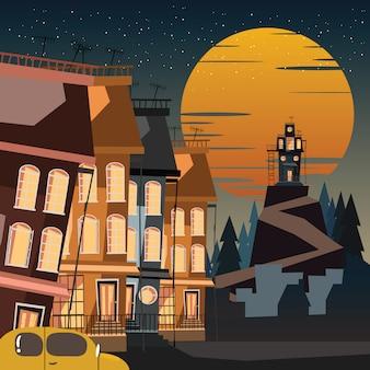 Spooky logé dans les montagnes vector illustration