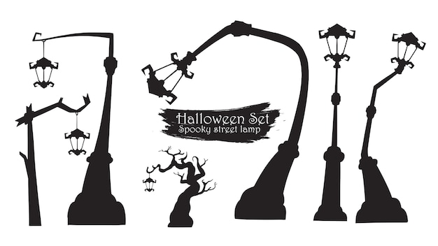 Spooky street lamp silhouette collection de halloween