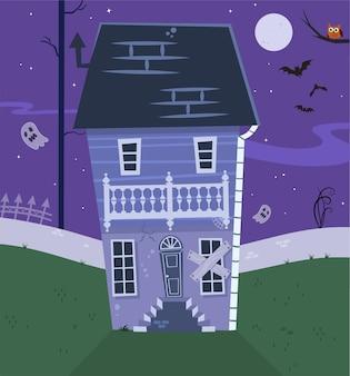 Spooky vieille maison hantée avec des fantômes halloween cartoon background vector illustration