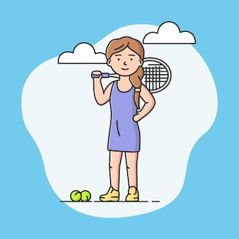 Sport actif professionnel et concept de mode de vie sain. jeune fille joyeuse joue au tennis à l'école ou à l'université. joueur de tennis. jeux d'équipes sportives. illustration vectorielle plane dessin animé contour linéaire.