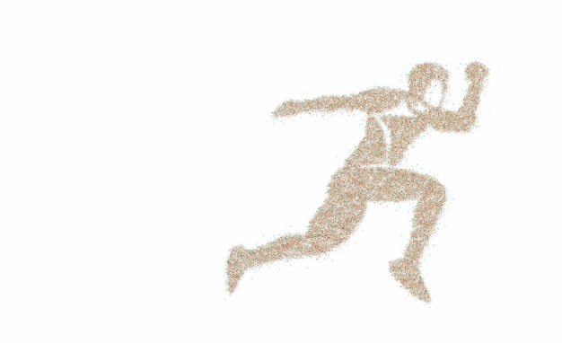 Sport et activité homme coureur jogger en cours d'exécution particule isolée, illustration vectorielle.