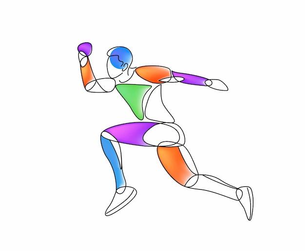Sport et activité homme coureur jogger exécutant dessin au trait isolé, illustration vectorielle.