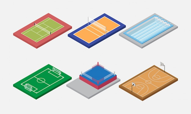 Sport arène et terrain mis vecteur isométrique