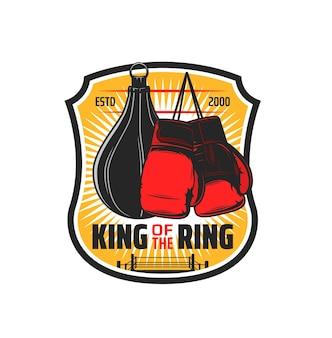 Sport de boxe, sac de club de kickboxing et emblème de gant